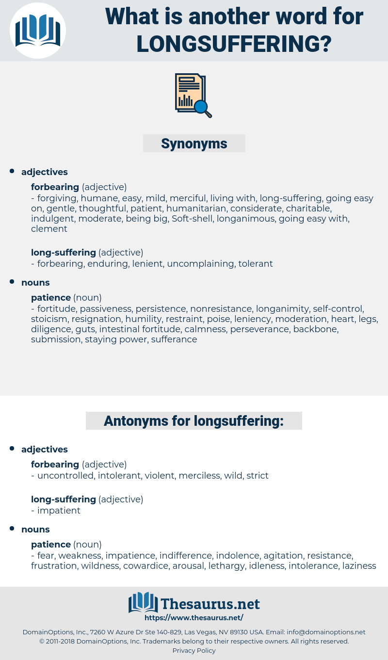 longsuffering, synonym longsuffering, another word for longsuffering, words like longsuffering, thesaurus longsuffering
