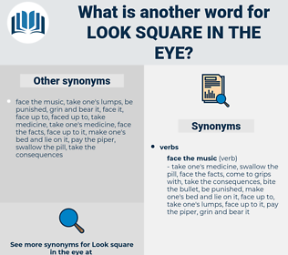 look square in the eye, synonym look square in the eye, another word for look square in the eye, words like look square in the eye, thesaurus look square in the eye