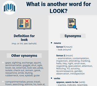 look, synonym look, another word for look, words like look, thesaurus look