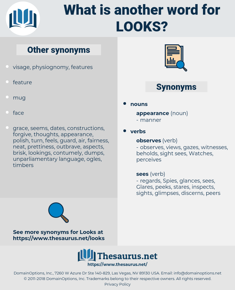 looks, synonym looks, another word for looks, words like looks, thesaurus looks