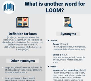 loom, synonym loom, another word for loom, words like loom, thesaurus loom