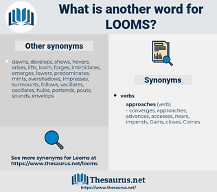 looms, synonym looms, another word for looms, words like looms, thesaurus looms