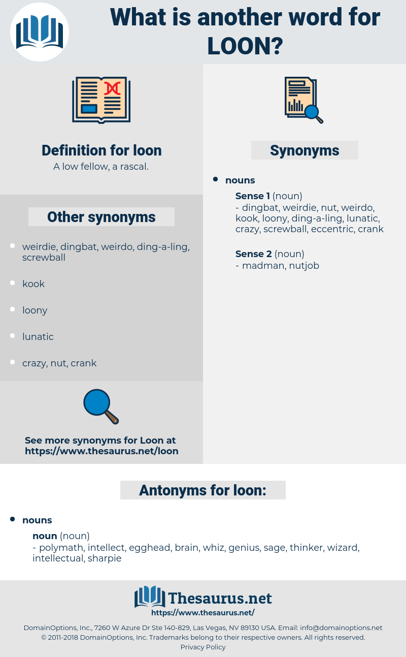 loon, synonym loon, another word for loon, words like loon, thesaurus loon