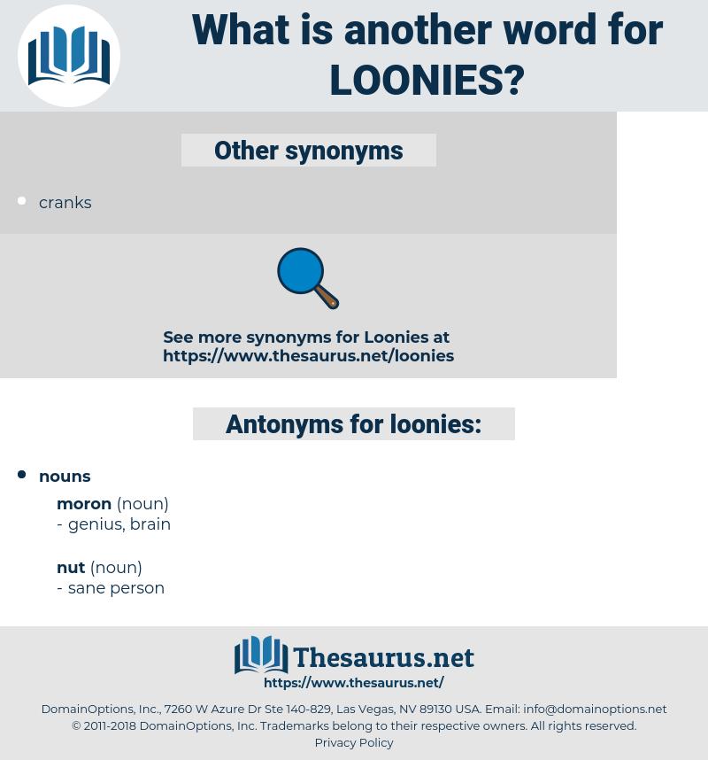 loonies, synonym loonies, another word for loonies, words like loonies, thesaurus loonies