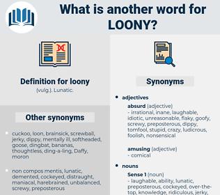 loony, synonym loony, another word for loony, words like loony, thesaurus loony