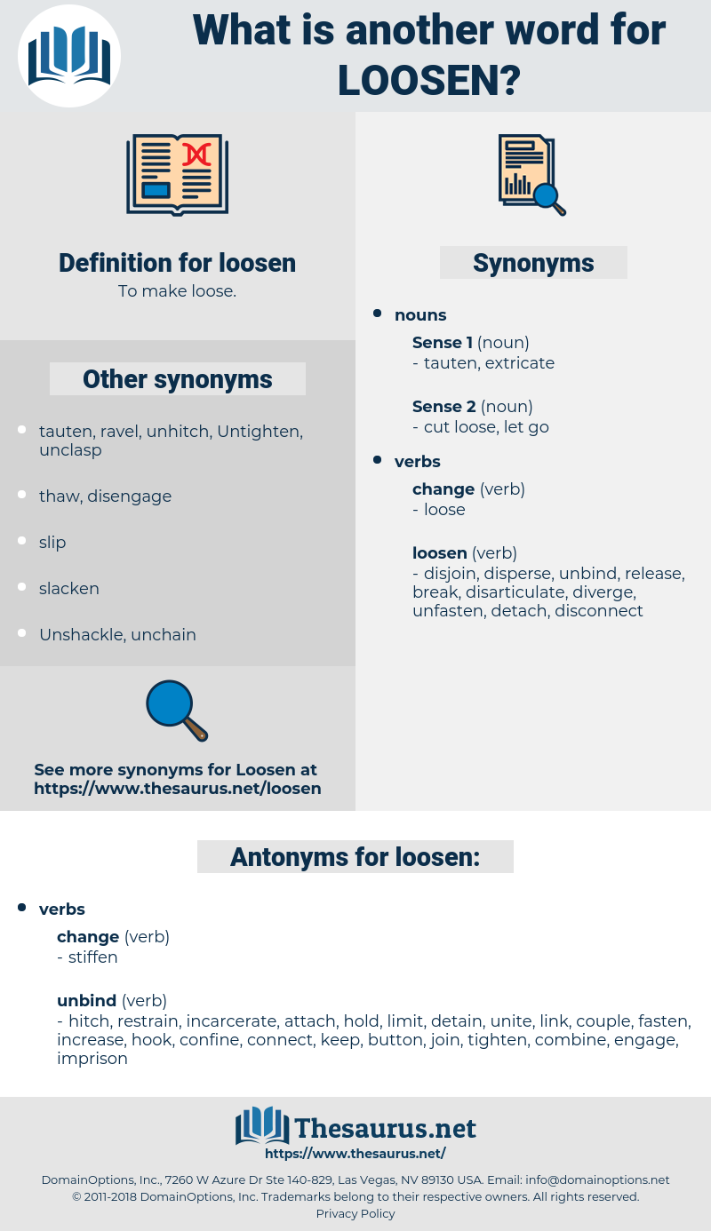 loosen, synonym loosen, another word for loosen, words like loosen, thesaurus loosen