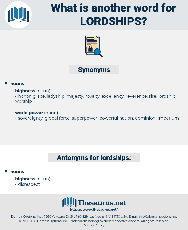 lordships, synonym lordships, another word for lordships, words like lordships, thesaurus lordships