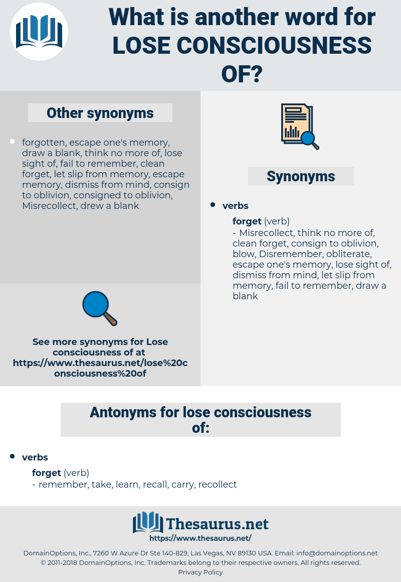 lose consciousness of, synonym lose consciousness of, another word for lose consciousness of, words like lose consciousness of, thesaurus lose consciousness of