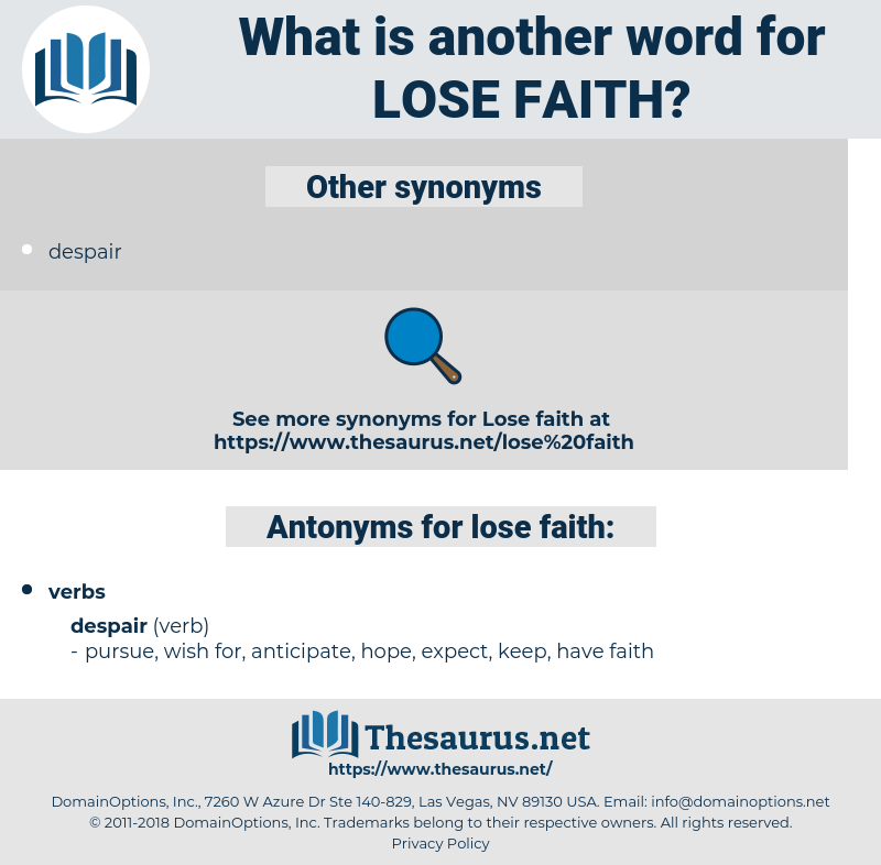 lose faith, synonym lose faith, another word for lose faith, words like lose faith, thesaurus lose faith
