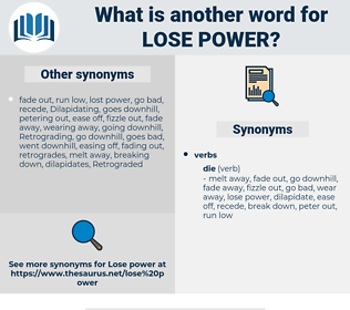 lose power, synonym lose power, another word for lose power, words like lose power, thesaurus lose power