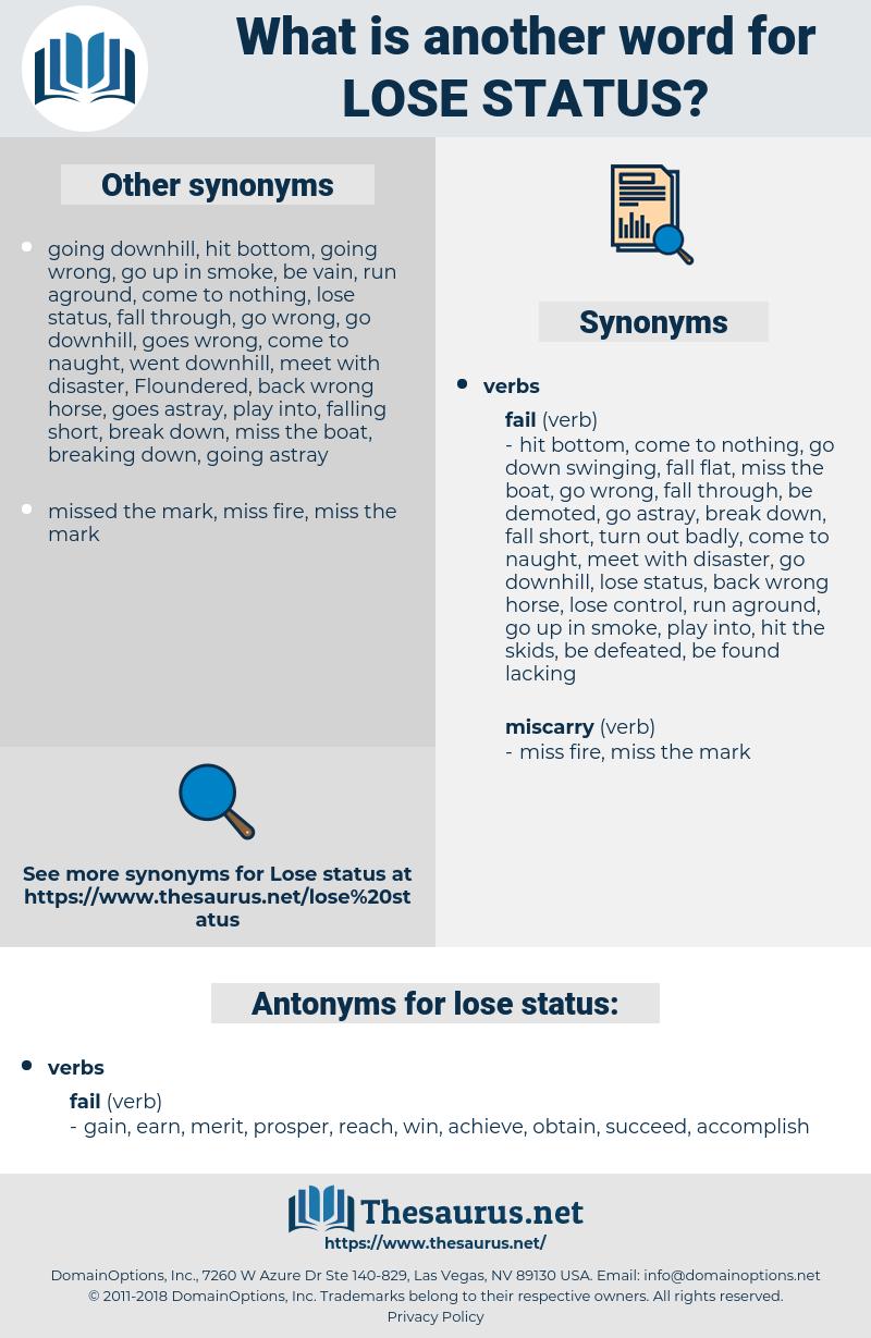lose status, synonym lose status, another word for lose status, words like lose status, thesaurus lose status