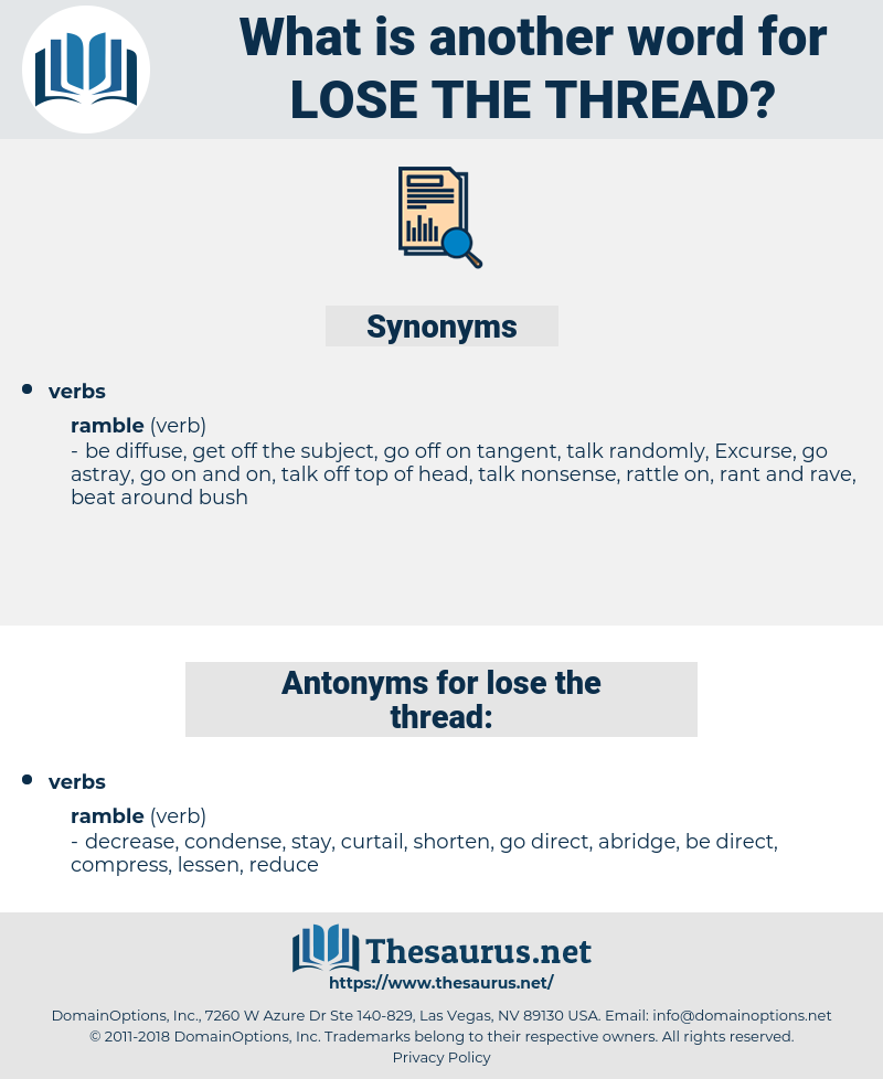 lose the thread, synonym lose the thread, another word for lose the thread, words like lose the thread, thesaurus lose the thread