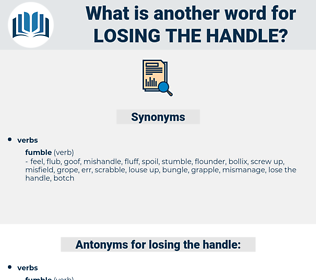 losing the handle, synonym losing the handle, another word for losing the handle, words like losing the handle, thesaurus losing the handle