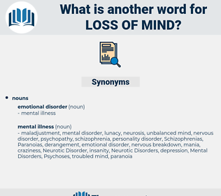 loss of mind, synonym loss of mind, another word for loss of mind, words like loss of mind, thesaurus loss of mind