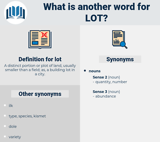 lot, synonym lot, another word for lot, words like lot, thesaurus lot
