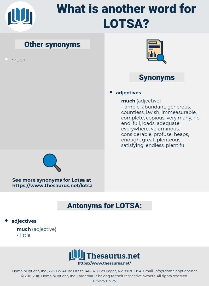 LOTSA, synonym LOTSA, another word for LOTSA, words like LOTSA, thesaurus LOTSA
