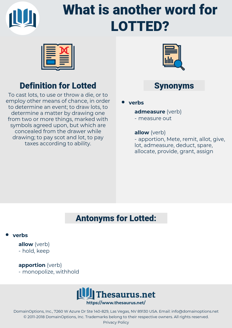 Lotted, synonym Lotted, another word for Lotted, words like Lotted, thesaurus Lotted