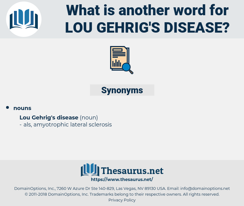 Lou Gehrig's Disease, synonym Lou Gehrig's Disease, another word for Lou Gehrig's Disease, words like Lou Gehrig's Disease, thesaurus Lou Gehrig's Disease