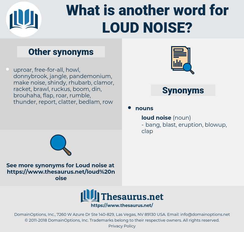 Synonyms for LOUD NOISE - Thesaurus net