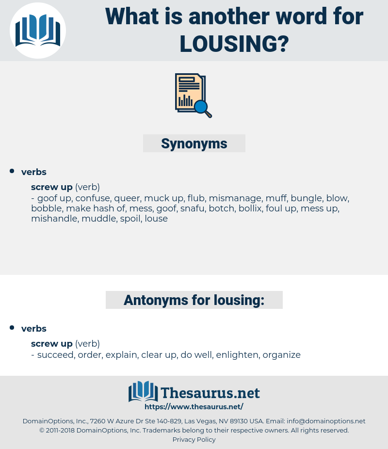 lousing, synonym lousing, another word for lousing, words like lousing, thesaurus lousing