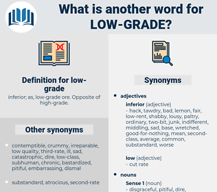 low-grade, synonym low-grade, another word for low-grade, words like low-grade, thesaurus low-grade