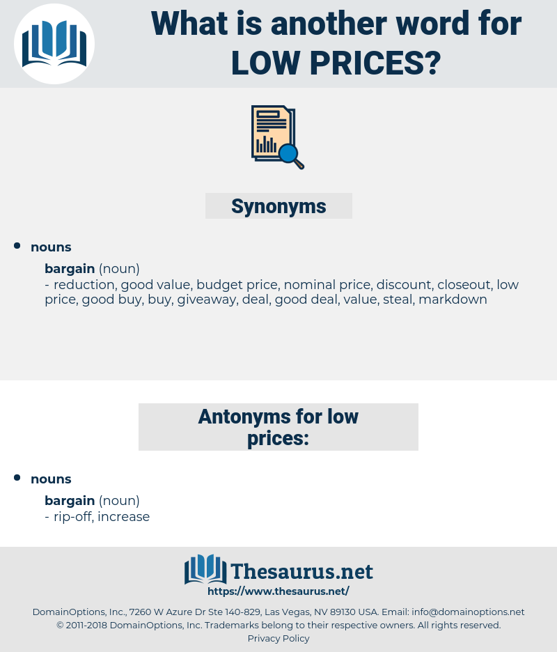 low prices, synonym low prices, another word for low prices, words like low prices, thesaurus low prices