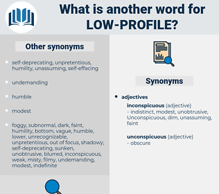 low-profile, synonym low-profile, another word for low-profile, words like low-profile, thesaurus low-profile
