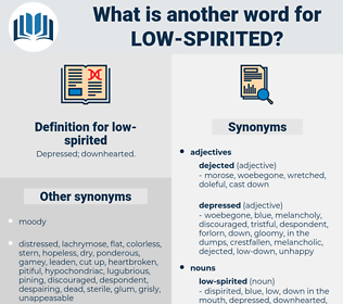 low-spirited, synonym low-spirited, another word for low-spirited, words like low-spirited, thesaurus low-spirited
