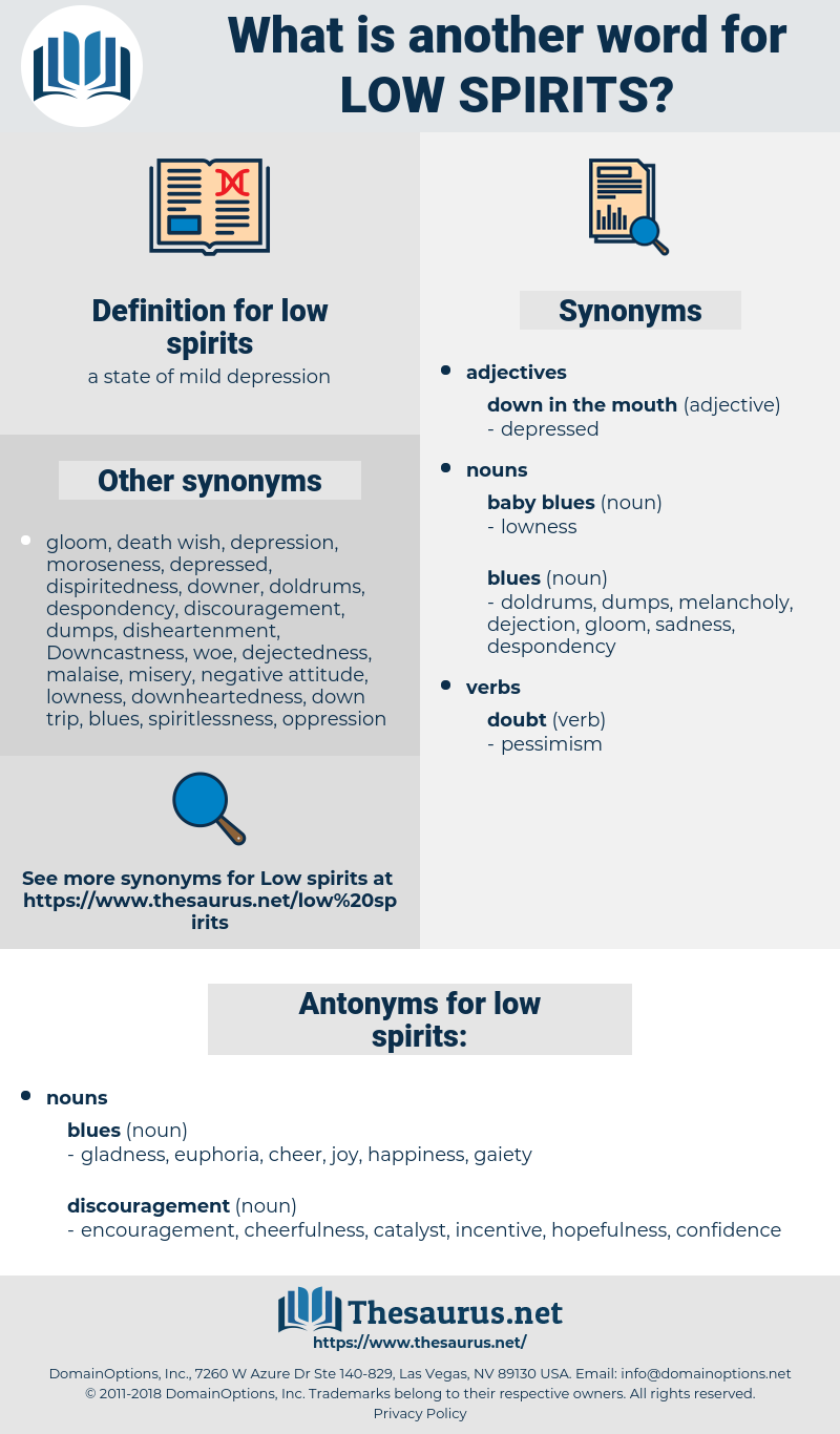 low spirits, synonym low spirits, another word for low spirits, words like low spirits, thesaurus low spirits