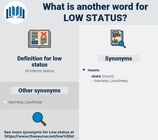 low status, synonym low status, another word for low status, words like low status, thesaurus low status