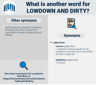 lowdown and dirty, synonym lowdown and dirty, another word for lowdown and dirty, words like lowdown and dirty, thesaurus lowdown and dirty