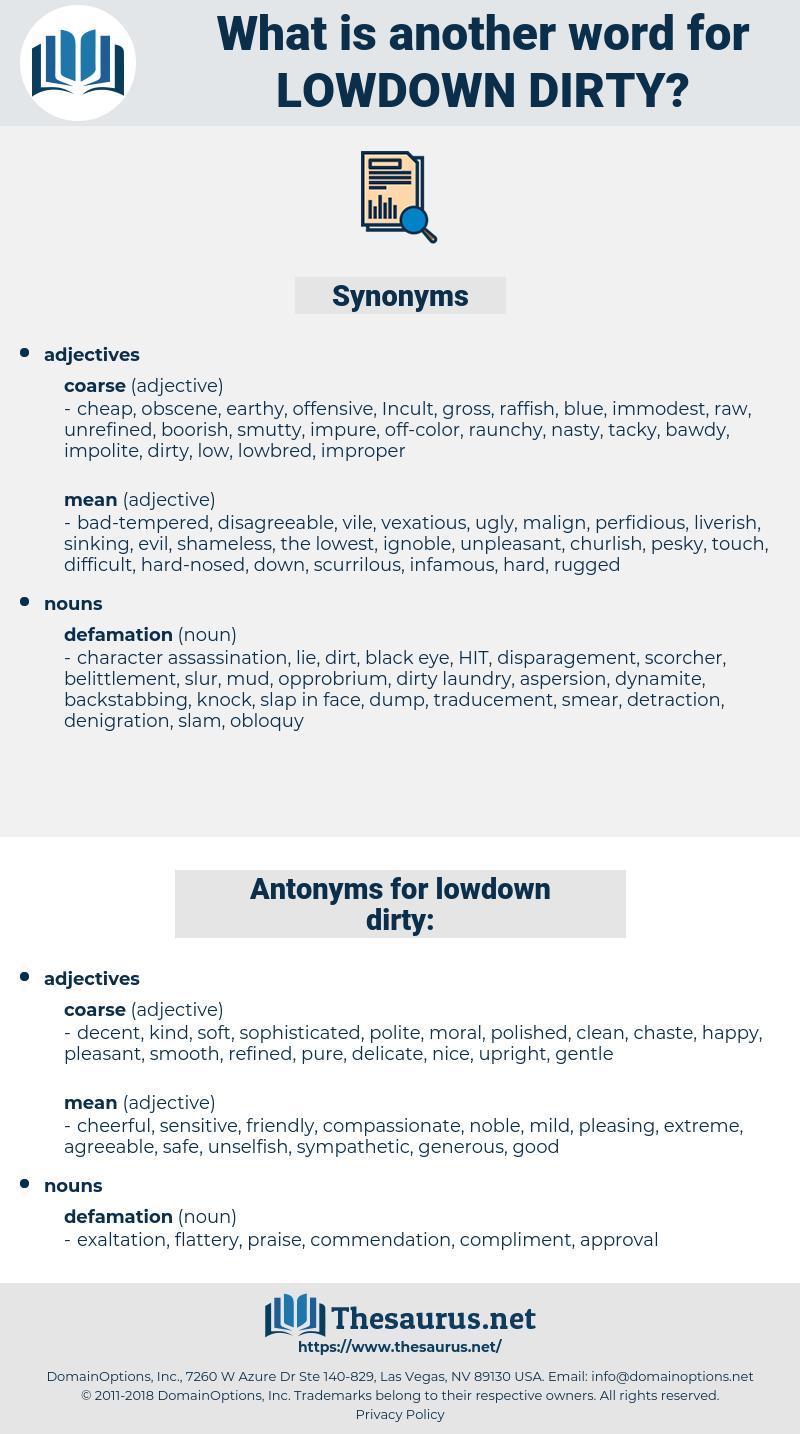 lowdown dirty, synonym lowdown dirty, another word for lowdown dirty, words like lowdown dirty, thesaurus lowdown dirty