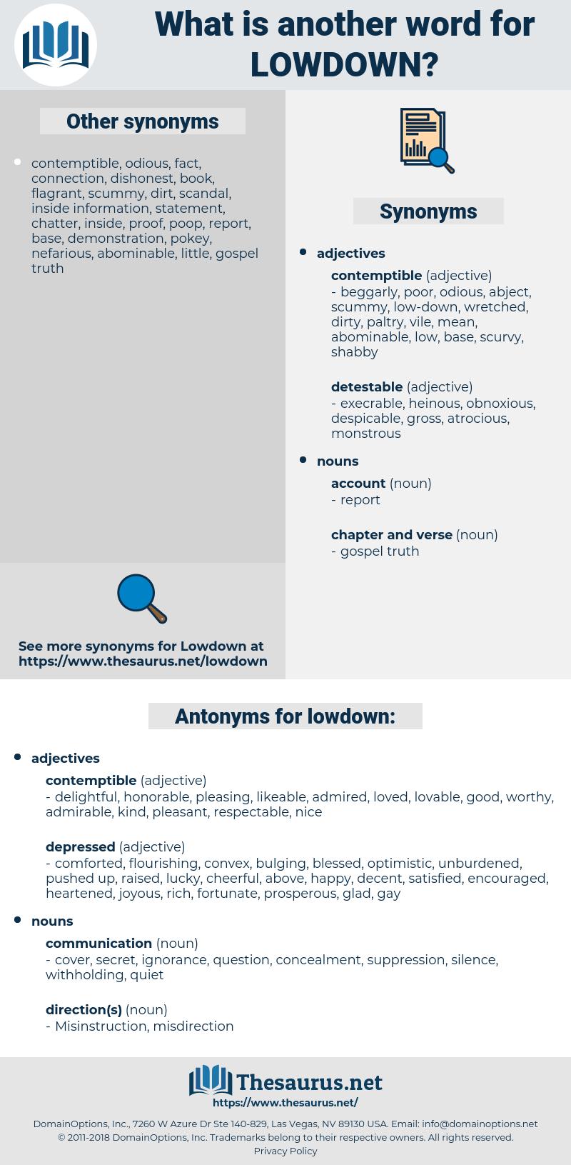 lowdown, synonym lowdown, another word for lowdown, words like lowdown, thesaurus lowdown