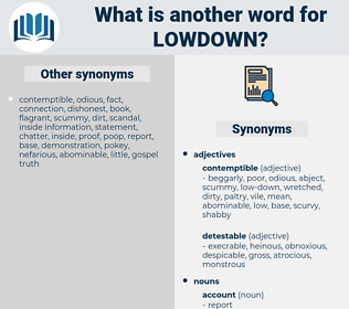 lowdown, synonym lowdown, another word for lowdown, words like lowdown, thesaurus lowdown