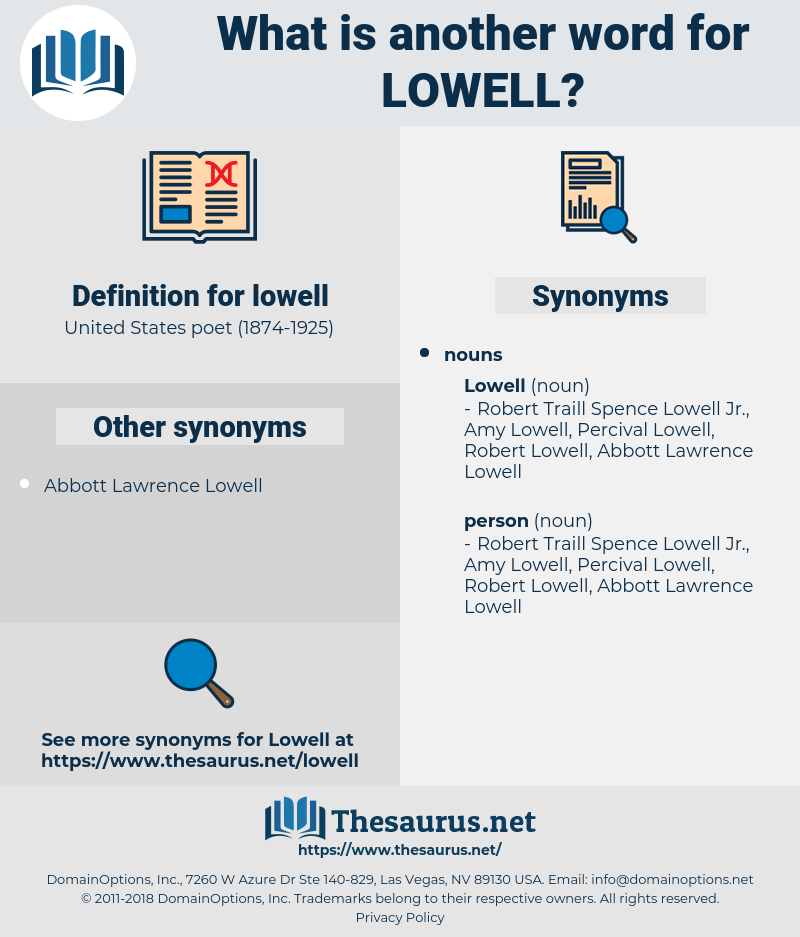 lowell, synonym lowell, another word for lowell, words like lowell, thesaurus lowell