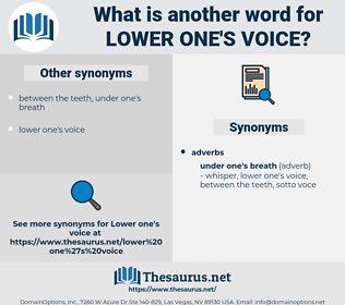 lower one's voice, synonym lower one's voice, another word for lower one's voice, words like lower one's voice, thesaurus lower one's voice