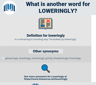 loweringly, synonym loweringly, another word for loweringly, words like loweringly, thesaurus loweringly