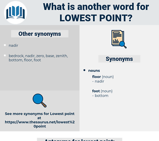 lowest point, synonym lowest point, another word for lowest point, words like lowest point, thesaurus lowest point