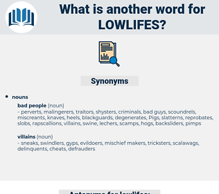 lowlifes, synonym lowlifes, another word for lowlifes, words like lowlifes, thesaurus lowlifes