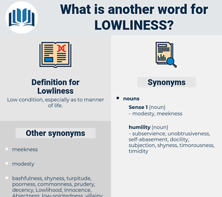 Lowliness, synonym Lowliness, another word for Lowliness, words like Lowliness, thesaurus Lowliness