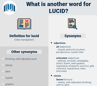 lucid, synonym lucid, another word for lucid, words like lucid, thesaurus lucid