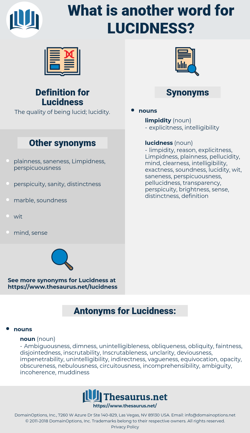 Lucidness, synonym Lucidness, another word for Lucidness, words like Lucidness, thesaurus Lucidness