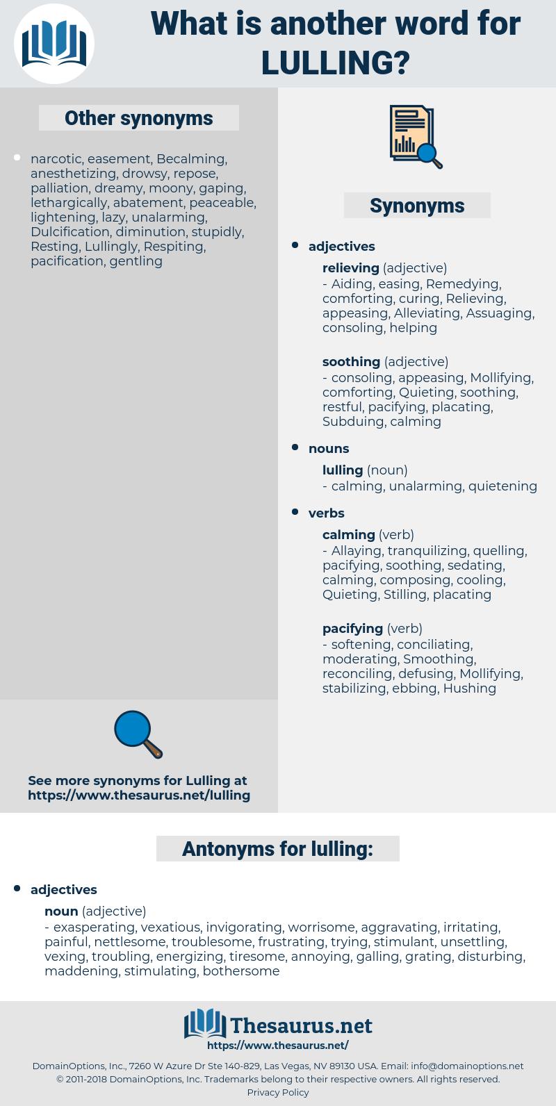 lulling, synonym lulling, another word for lulling, words like lulling, thesaurus lulling