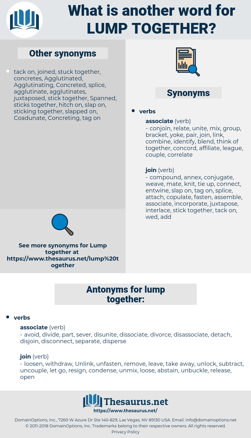 lump together, synonym lump together, another word for lump together, words like lump together, thesaurus lump together