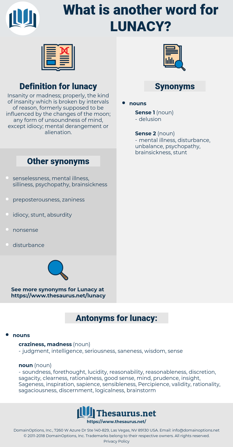 lunacy, synonym lunacy, another word for lunacy, words like lunacy, thesaurus lunacy
