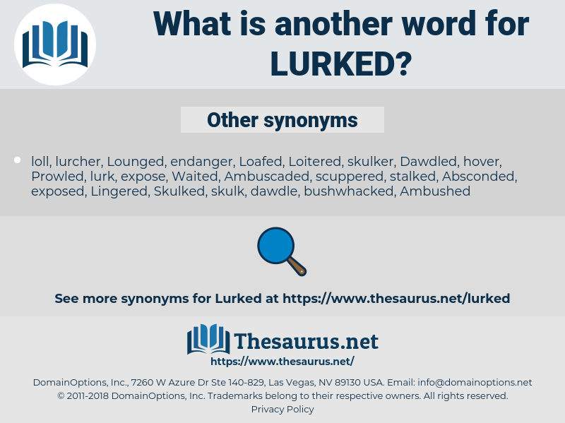 Lurked, synonym Lurked, another word for Lurked, words like Lurked, thesaurus Lurked