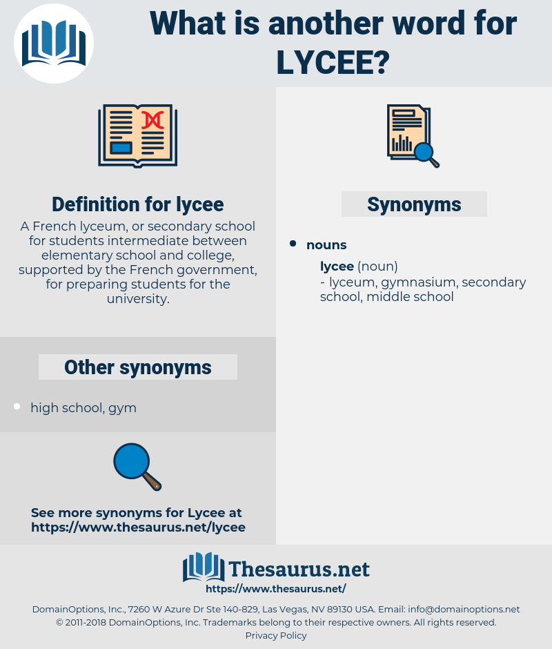 lycee, synonym lycee, another word for lycee, words like lycee, thesaurus lycee