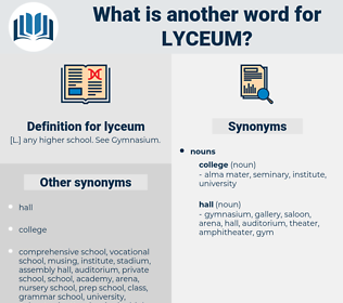 lyceum, synonym lyceum, another word for lyceum, words like lyceum, thesaurus lyceum