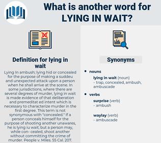 lying in wait, synonym lying in wait, another word for lying in wait, words like lying in wait, thesaurus lying in wait