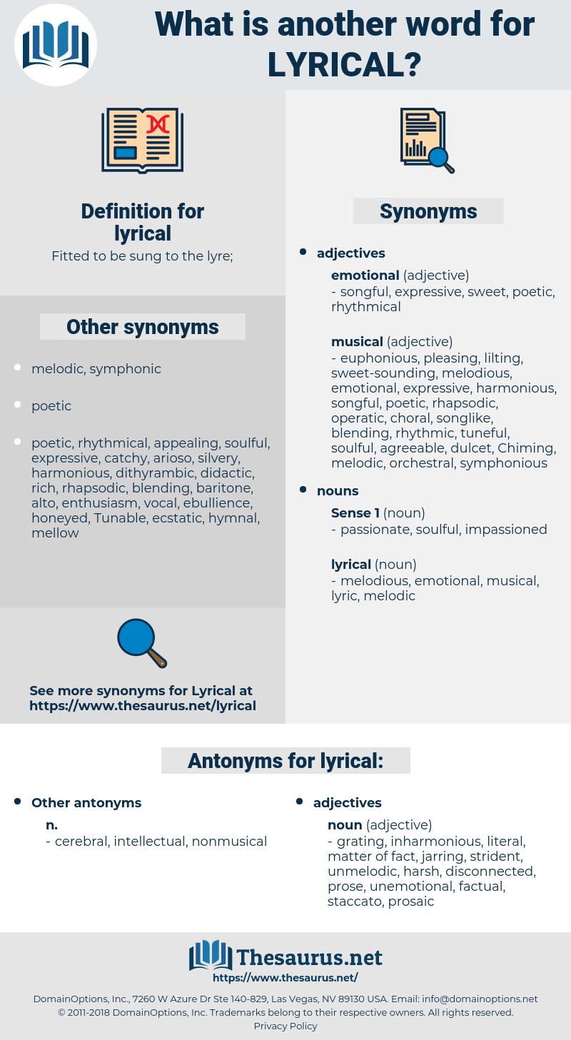 lyrical, synonym lyrical, another word for lyrical, words like lyrical, thesaurus lyrical